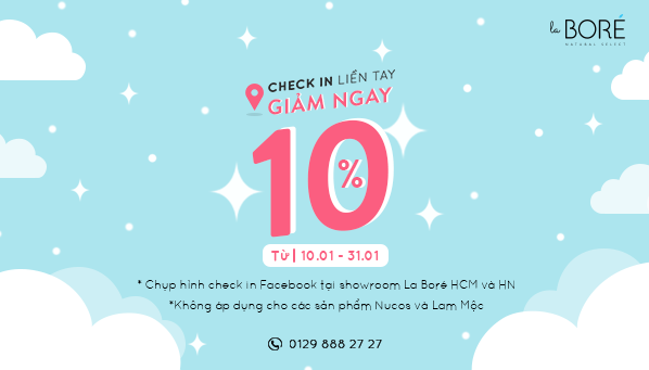 CHECK IN LIỀN TAY - GIẢM NGAY 10% !